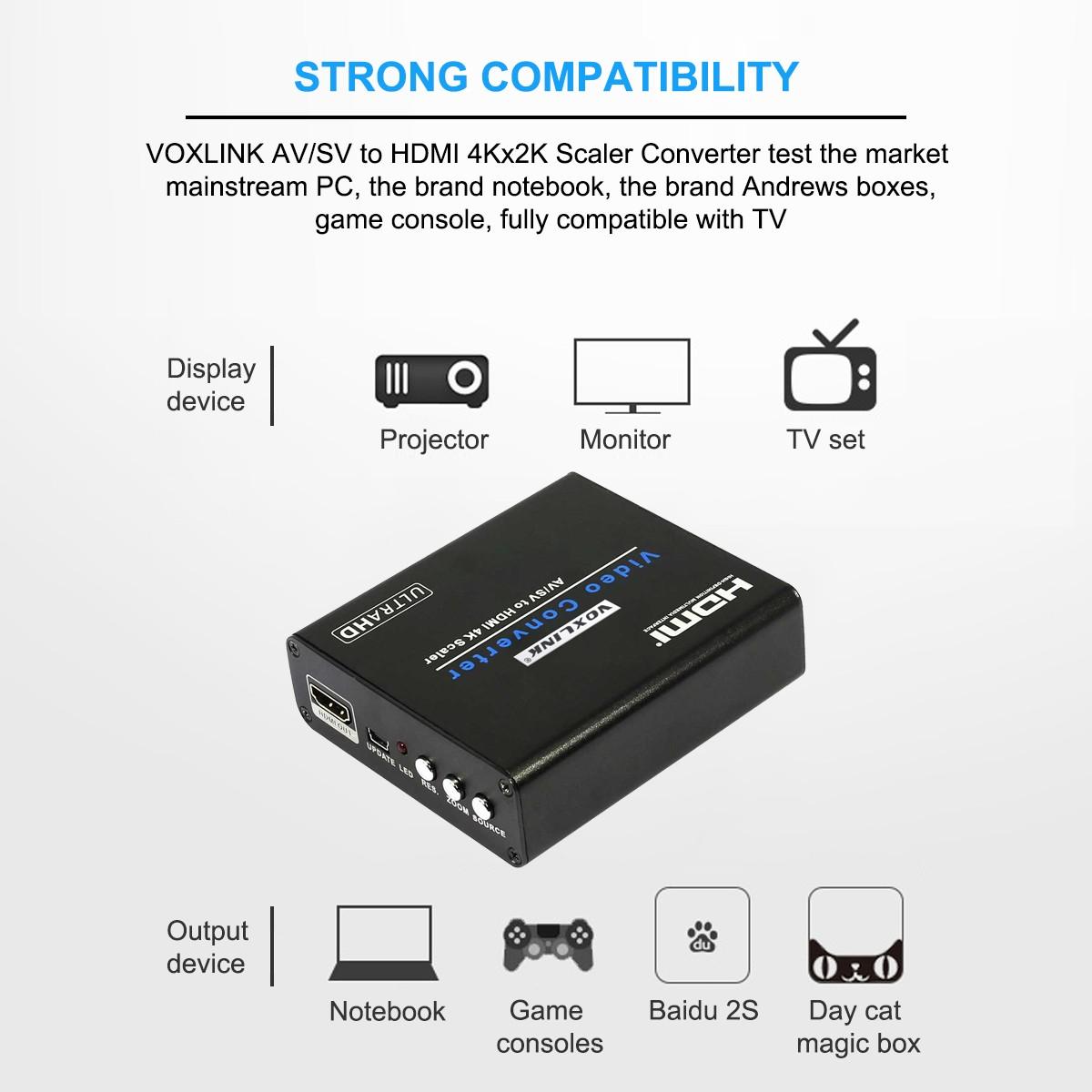 VOXLINK AV/SV to HDMI 4Kx2K Scaler Converter Box