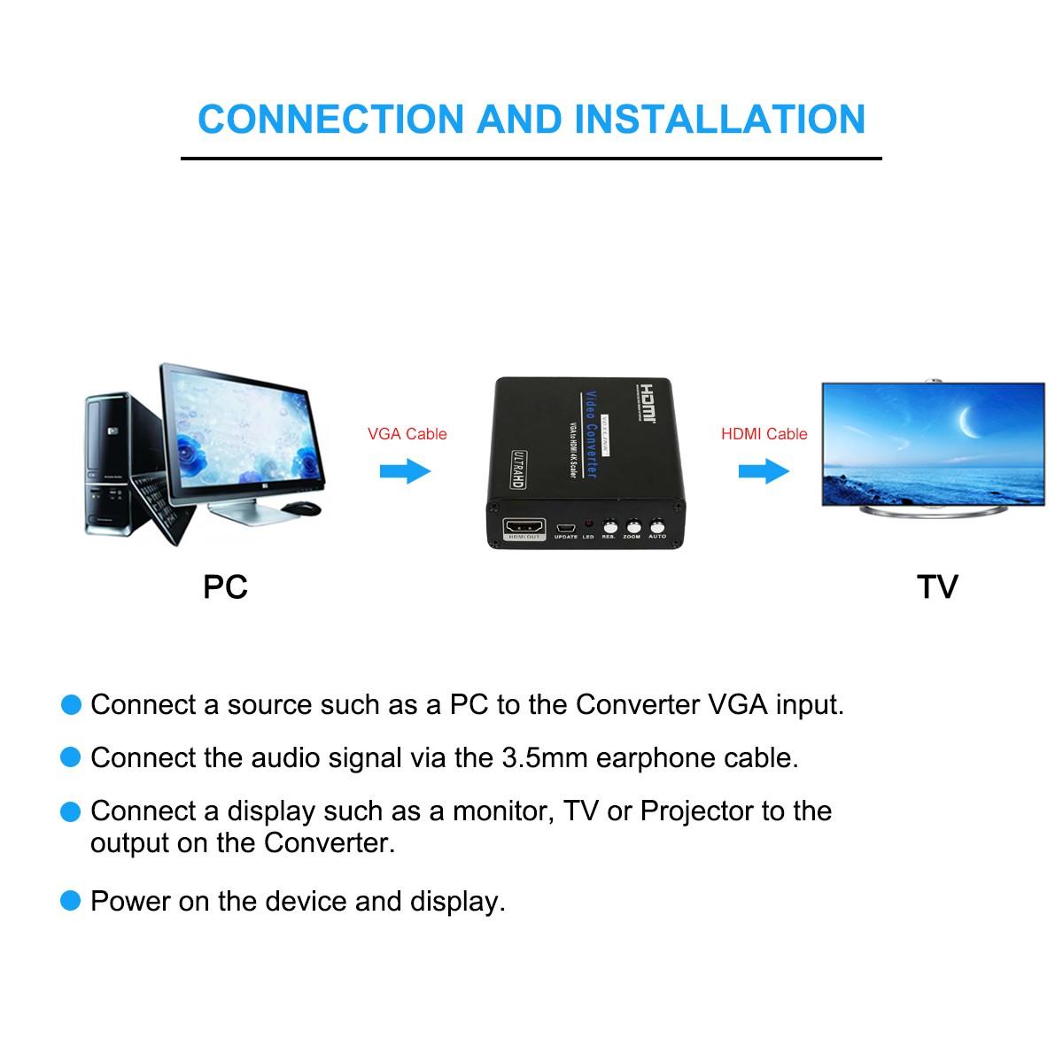 VOXLINK VGA to HDMI 4Kx2K Scaler Converter Box