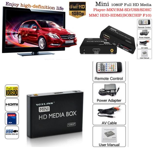 Mini 1080P Full HD Media Player-MKV/RM-SD/USB/SDHC/MMC HDD-HDMI(BOXCHIP F10) black EU