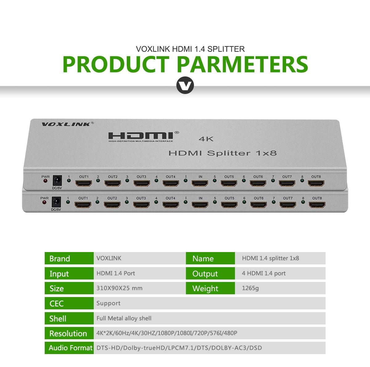 VOXLINK NEW 1X8 HDMI 2.0 Splitter 4K (HDMI 2.0,HDCP2.2 ,4K,IR Extension, EDID Mangement, RS232) EU