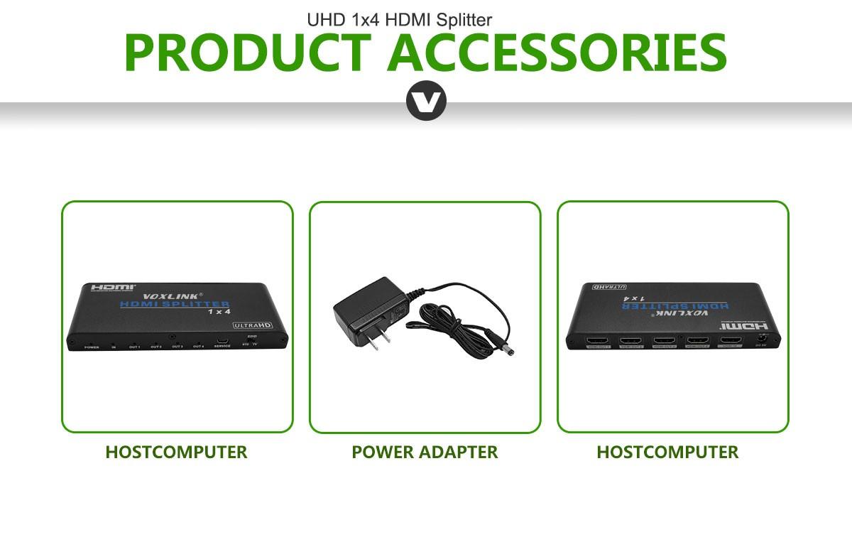 VOXLINK UHD 1x4 HDMI Splitter US