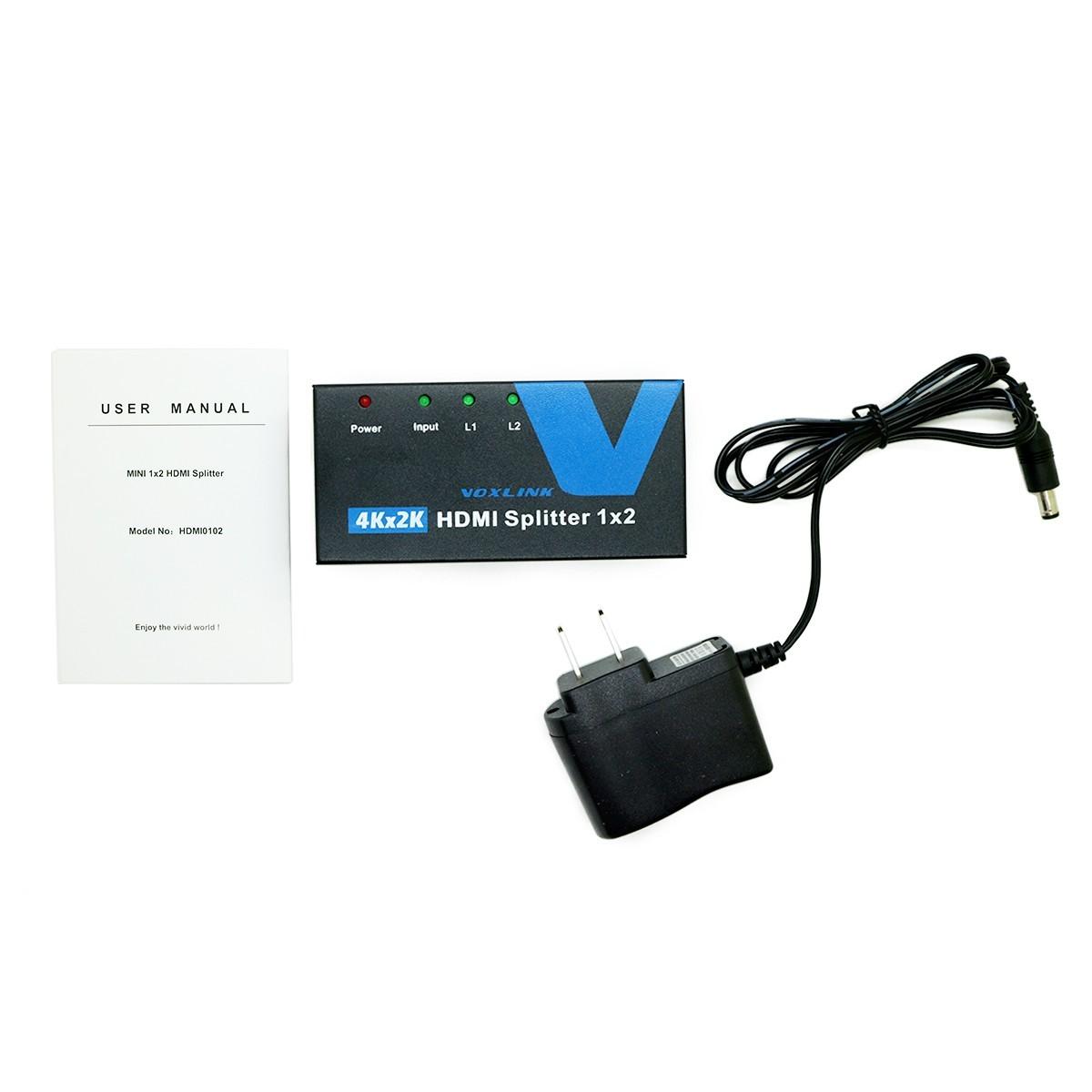 Voxlink HDMI Splitter 1x2 Support 3D Ultra-HD Resolution 4KX2K 1 in 2 out HDMI 4K Video Splitter