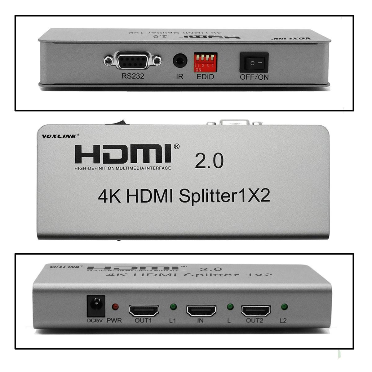 VOXLINK NEW 1X2 HDMI 2.0 HDMI Splitter 4K (HDMI 2.0,HDCP2.2 ,4K,IR Extension, EDID Mangement, RS232 US