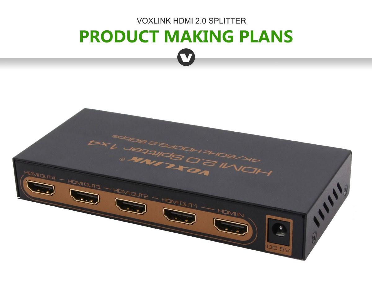 Voxlink HDMI 2.0 HDR 1x4 HDMI Splitter (4K/60Hz/ HDCP2.2) US