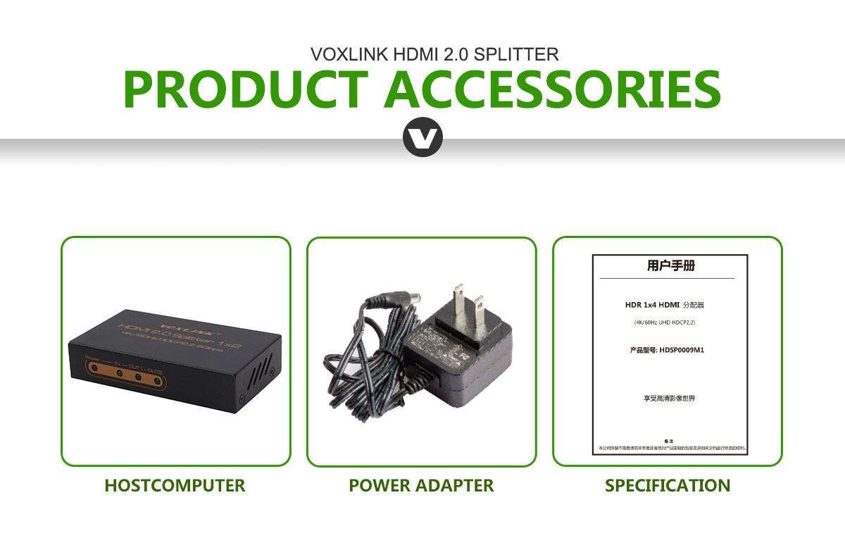 Voxlink HDMI 2.0/HDR 1x2 HDMI Splitter (4K/60Hz/HDCP2.2) US